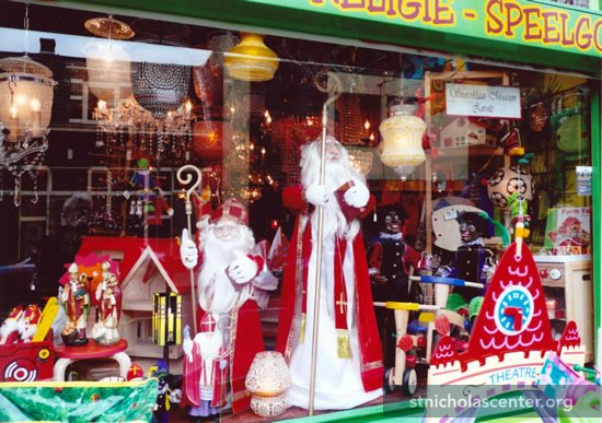 Sints and toys in shop window
