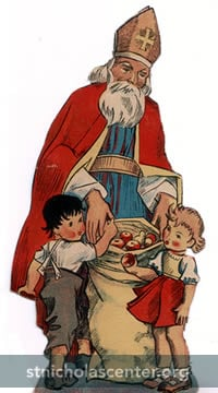 St Nicholas giving apples to children