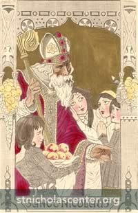 St. Nicolas with apples and girls