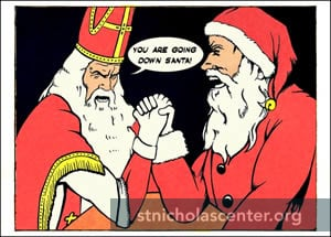 Sint and Santa arm wrestling
