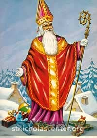 Saint Nicolas on roof with gifts