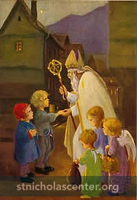 Saint Nicholas with children and angels