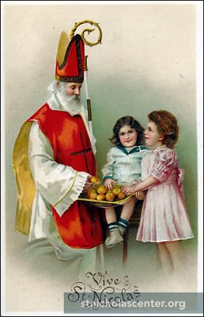 St Nicolas with two girls
