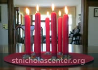 Circle of red candles