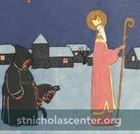 Black robed figure with St Nicholas