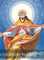 St Nicholas in pink and gold