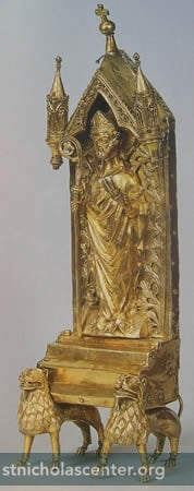 Gold reliquary, figure of St Nicholas