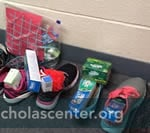 Care items in shoes