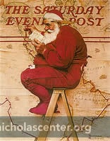 Santa and map, studying list