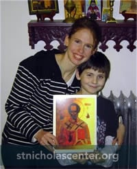 Mother & son with Nicholas icon