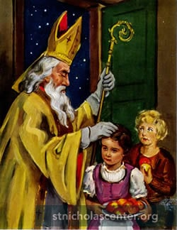 St Nicholas with two children
