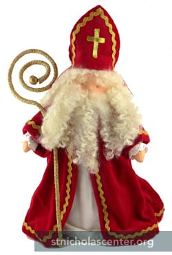 St Nicholas in red with large gold crozier