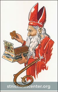 Sinterklaas enjoying Speculaas