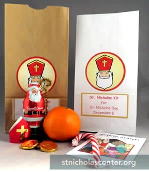 Paper bags and supplies for St Nicholas kits