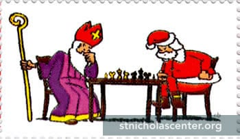 Sint and Santa playing chess