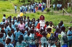 Sinterklaas with many children