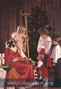 Children visiting St. Nicholas -Photo: Mike Wilk, Ukrainian Christmas, by Mary Ann Woloch Vaughn; permission pending