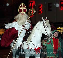 Sinterklaas on horse in street parade