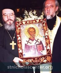 St Nicholas icon carried by priests