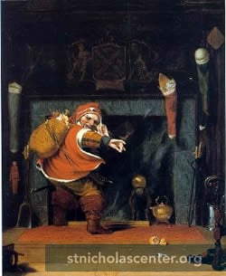 Elfin figure at fireplace